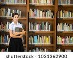 asian university girl student... | Shutterstock . vector #1031362900