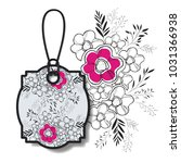 tag hanging with floral pattern | Shutterstock .eps vector #1031366938