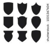 black shield icons set on white ... | Shutterstock .eps vector #1031367604