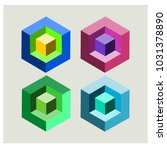 four lie 3 dimensional square.   Shutterstock .eps vector #1031378890