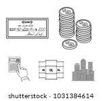 a stack of coins  a bank check  ...   Shutterstock .eps vector #1031384614