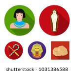 crook and flail a golden mask ... | Shutterstock .eps vector #1031386588