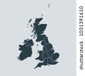 united kingdom map on gray... | Shutterstock .eps vector #1031391610