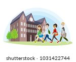 college student's friends... | Shutterstock .eps vector #1031422744