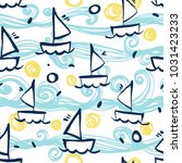 seamless sea pattern with hand... | Shutterstock .eps vector #1031423233
