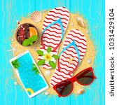summer time beautiful card. top ... | Shutterstock .eps vector #1031429104