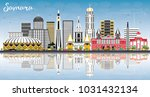samara russia city skyline with ... | Shutterstock . vector #1031432134