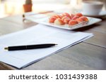 fresh strawberry with pen and... | Shutterstock . vector #1031439388