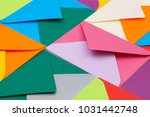 different colored envelopes on... | Shutterstock . vector #1031442748