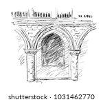 venetian porch hand drawn... | Shutterstock .eps vector #1031462770
