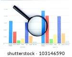 magnifier on financial graph | Shutterstock . vector #103146590