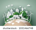 illustration of eco concept and World Wildlife Day with the animal in forest , Paper art and digital craft style. | Shutterstock vector #1031466748