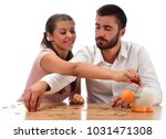 beautiful couple saving money...   Shutterstock . vector #1031471308