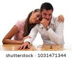 beautiful couple saving money...   Shutterstock . vector #1031471344