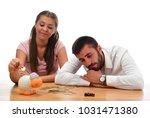 beautiful couple saving money...   Shutterstock . vector #1031471380