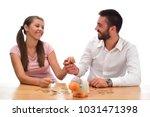 beautiful couple saving money...   Shutterstock . vector #1031471398