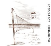 beach volleyball landscape... | Shutterstock .eps vector #1031473129