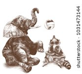 elephant and raccoon sit and...   Shutterstock .eps vector #1031473144