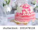 pink colour wedding cake with... | Shutterstock . vector #1031478118