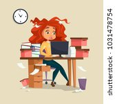 woman in office stress vector... | Shutterstock .eps vector #1031478754