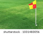 red and yellow color flag pole... | Shutterstock . vector #1031483056