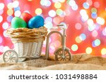 easter card  colored eggs in... | Shutterstock . vector #1031498884