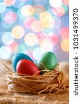 easter card  colored eggs in... | Shutterstock . vector #1031499370