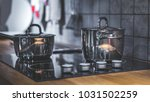 cooking pot on electric stove | Shutterstock . vector #1031502259