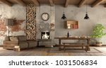 living room with fireplace in... | Shutterstock . vector #1031506834