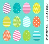 colorful easter eggs set in... | Shutterstock . vector #1031511580