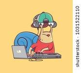 funky dj snail character doing... | Shutterstock .eps vector #1031522110