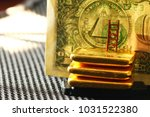 gold bar and banknote scene.  | Shutterstock . vector #1031522380