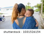portrait of mother and baby son ... | Shutterstock . vector #1031526154
