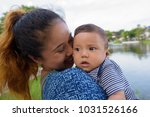 portrait of mother and baby son ... | Shutterstock . vector #1031526166