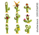 cactus characters sett  funny... | Shutterstock .eps vector #1031536930