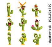 cactus characters sett  funny... | Shutterstock .eps vector #1031536930