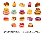 cakes sett  sweet dessetrts ... | Shutterstock .eps vector #1031536963