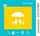 family under umbrella   family... | Shutterstock .eps vector #1031537884
