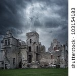 Stormy Sky Over Ruins Of Manor...