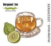 bergamot fruits and cup of tea... | Shutterstock .eps vector #1031545654