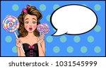 girl in pop art style with... | Shutterstock .eps vector #1031545999