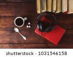 books  black headphones  sugar...   Shutterstock . vector #1031546158