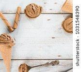 top view brown ice cream in... | Shutterstock . vector #1031548390