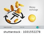 money exchange icon with flying ...   Shutterstock .eps vector #1031552278