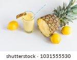 pineapple cocktail with lemons...   Shutterstock . vector #1031555530