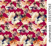 vintage pattern with roses and... | Shutterstock .eps vector #1031557063