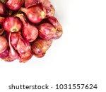 shredded shallots on a white... | Shutterstock . vector #1031557624