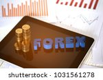 forex text and stack of coin...   Shutterstock . vector #1031561278