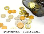 top view of british currency... | Shutterstock . vector #1031573263