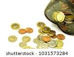 british currency coins open... | Shutterstock . vector #1031573284